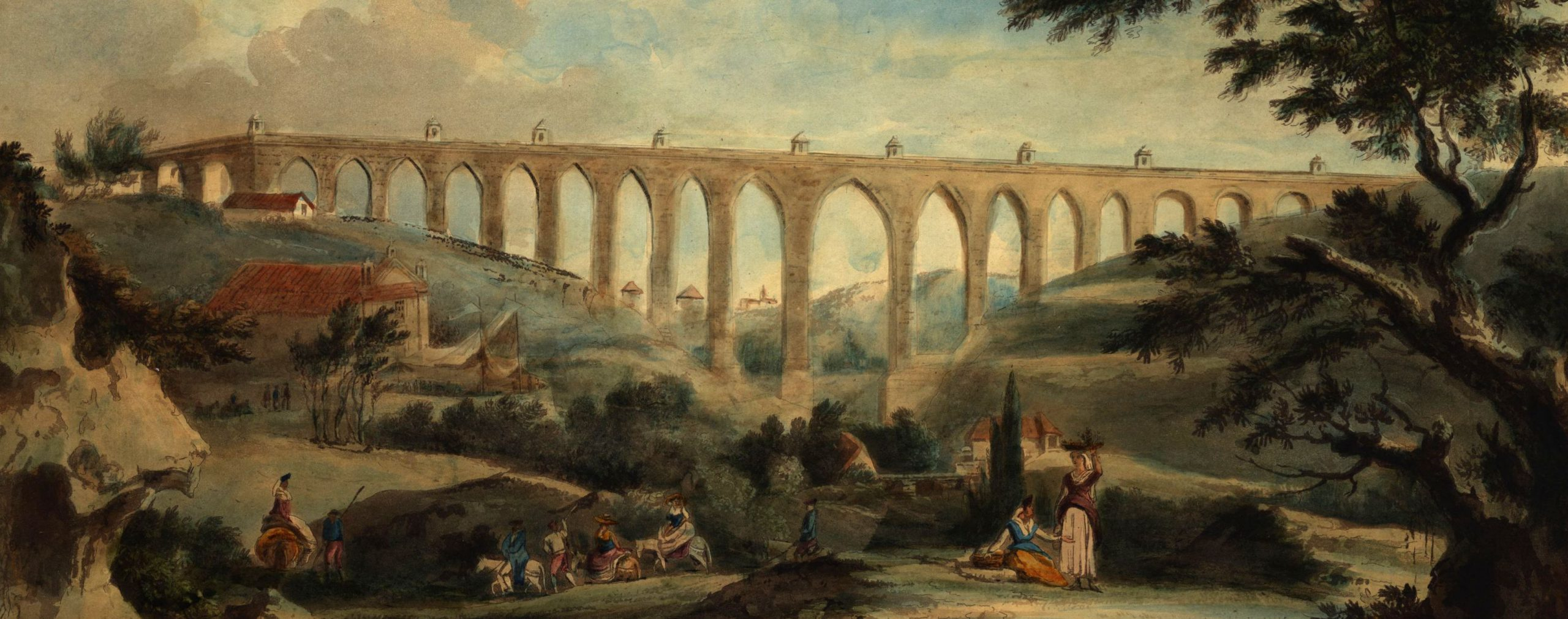 A S. W. view of the grand Aqueduct over the Valley of Alcantara near Lisbon